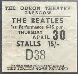 1964 Vintage Beatles Concert Ticket Stub Glasgow Odeon Scotland Authenticated