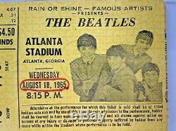 1965 The Beatles Authentic CONCERT TICKET STUB Atlanta Stadium Mega Rare