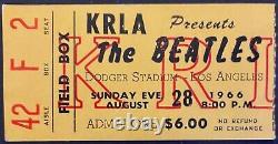 1966 The Beatles Dodger Stadium Concert Program Ticket Stub Pinback Button