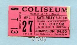 1968 The Cream Frank Zappa Mothers concert ticket stub Coliseum Chicago Clapton