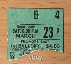 1968 The Doors Fillmore East March 23 New York Concert Ticket Stub Jim Morrison