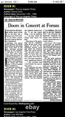 1968 The Doors Los Angeles Forum Concert Ticket Stub Jim Morrison The End 35 J 2