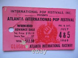 1969 ATLANTA POP FESTIVAL Original CONCERT TICKET STUB Led Zeppelin J. Joplin