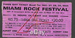 1969 Grateful Dead Johnny Winter Canned Heat Concert Ticket Stub Miami Rock Fest