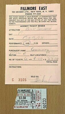 1971 Black Sabbath Paranoid Tour Fillmore East New York Concert Ticket Stub Ozzy