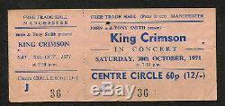 1971 King Crimson Unused Full Concert Ticket Stub Manchester UK Wake Of Poseidon