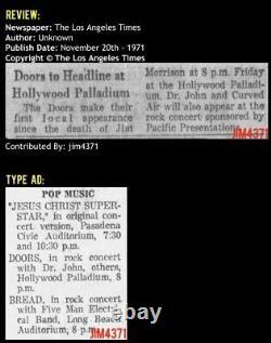1971 The Doors Hollywood Palladium Concert Ticket Stub L. A. Woman Roadhouse Blues