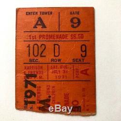 1971george Harrisonbangladeshconcert Ticket Stubmadison Square Garden Niy