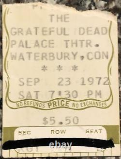1972 GRATEFUL DEAD Palace Thtr Waterbury CT 9/23 Box Office Concert TICKET STUB