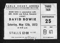 1973 David Bowie Concert Ticket Stub Aladdin Sane Ziggy Earls Court London
