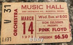 1973 PINK FLOYD Boston Music Hall 3/14 DARK SIDE THE MOON CONCERT TICKET STUB