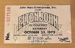1975 Elton John Los Angeles Dodger Stadium Concert Ticket Stub Your Song Levon