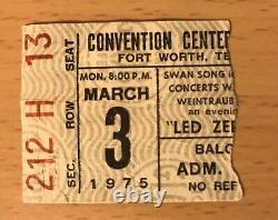 1975 Led Zeppelin Fort Worth Texas Concert Ticket Stub Robert Plant Jimmy Page