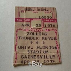 1976bob Dylanrolling Thunder Revue Desireconcert Ticket Stubgainesville Fl