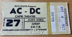 1977 AC/DC Capri Theatre Atlanta GA Box Office Concert TICKET STUB 11/27/77 Bon