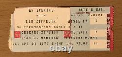 1977 Led Zeppelin Chicago Concert Ticket Stub Robert Plant Jimmy Page Bonham