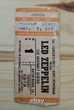 1977 Led Zeppelin Vintage Concert Ticket Stub Baton Rouge, LSU Assembly Center