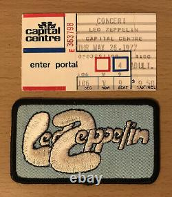 1977 Led Zeppelin Washington DC Concert Ticket Stub & Vintage Patch Robert Plant