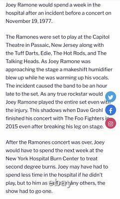 1977 The Ramones / Talking Heads Passaic N. J. Concert Ticket Stub Joey Burned