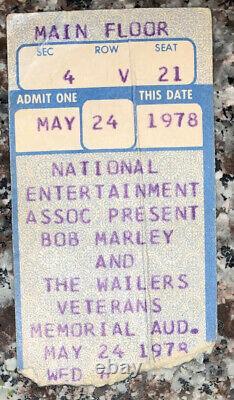 1978 BOB MARLEY & WAILERS Columbus OH Box Office Concert TICKET STUB 5/24 Kaya