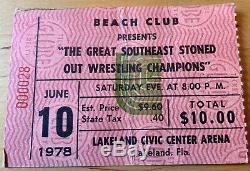 1978 ROLLING STONES Lakeland Civic Center Box Office Concert Ticket Stub 6/10/78