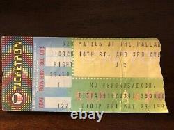 1981 U2'BOY' Concert Ticket Stub-Mateus at Palladium, NY 5/29/81 BONO, EDGE