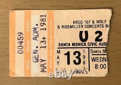 1981 U2 Boy Tour Santa Monica Concert Ticket Stub Bono The Edge I Will Follow