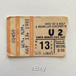 1981 U2 Suburban Lawns LA Concert Ticket Stub Punk New Wave