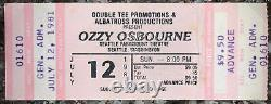 1981 Unused Ozzy Motörhead Paramount SEATTLE Concert TICKET STUB Randy Rhoads