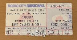 1985 Madonna Beastie Boys New York City Concert Ticket Stub Like A Virgin Tour