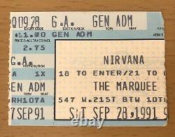 1991 Nirvana / Melvins New York City Concert Ticket Stub Kurt Cobain Nevermind