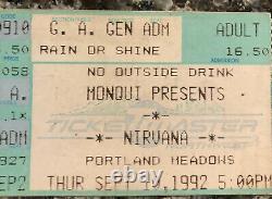 1992 NIRVANA Concert Ticket Stub 9/10/92 Portland Meadows OR Calamity Jane