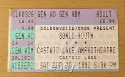 1992 Sonic Youth Mudhoney Kurt Cobain Castaic Lake Concert Ticket Stub Nirvana 1