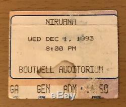 1993 Nirvana Birmingham Al. Concert Ticket Stub Kurt Cobain Dave Grohl In Utero