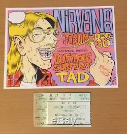 1993 Nirvana Los Angeles Concert Ticket Stub Plus Repro Handbill Kurt Cobain