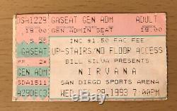 1993 Nirvana San Diego Concert Ticket Stub Kurt Cobain Dave Grohl In Utero Tour