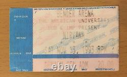 1993 Nirvana Washington D. C. Concert Ticket Stub Kurt Cobain Dave Grohl In Utero
