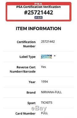 1994 Nirvana Very Rare Concert Ticket Stub Kurt Cobain PSA Authenticated FULL