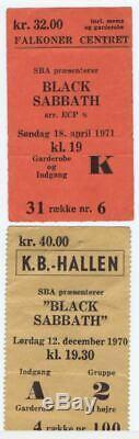 2x Black Sabbath 1970+1971 very rare original concert ticket stubs (Denmark)