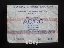 AC/DC Trentham Gardens Ballroom UK 1978 Concert Ticket Stub 12.11.78