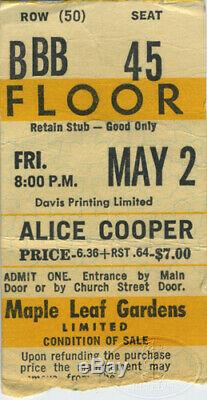 ALICE COOPER 1975 Welcome to My Nightmare Concert Ticket Stub Maple Leaf Gardens