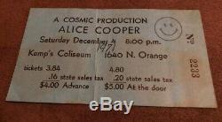 ALICE COOPER Concert Ticket Stub December 4, 1971 KEMP POSTER ORLANDO FLORIDA