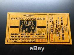 ALICE COOPER UNUSED Concert Ticket Stub April 21, 1973 PIRATES WORLD MIAMI FL