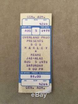 Auth. BOB MARLEY Miami Jai-Alai FL 1978 Rare Collector's Concert Ticket Stub