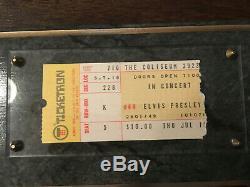 Authentic 1975 Elvis Presley Concert Ticket Stub on plaque with COA