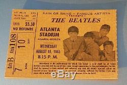 Authentic Beatles Atlanta Stadium August 1965 Concert Ticket Stub Salmon