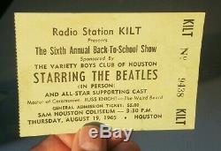 Authentic Beatles Sam Houston Coliseum August 1965 Concert Ticket Stub