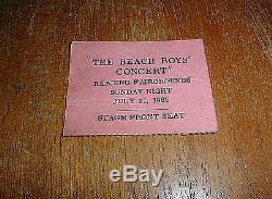 BEACH BOYS Rare 1965 CONCERT TICKET STUB Reading Fairgrounds, PA 7/11/65
