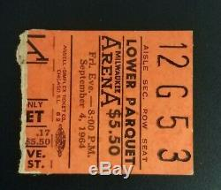 BEATLES 1964 Milwaukee CONCERT TICKET STUB Lower Parquet Orange