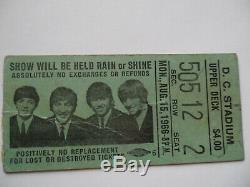 BEATLES 1966 Original CONCERT TICKET STUB D. C. Stadium VG+